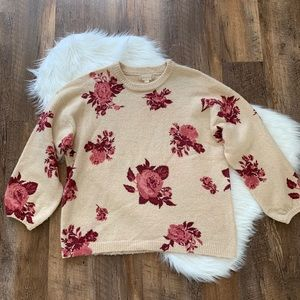 Altar'd State Floral Crew Neck Sweater Size Medium